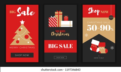 Modern flat Merry Christmas New Year big sales app screen template,web online shopping concept.NewYear gift boxes,new year tree balls,xmas socks sale application screens,ready to use button Shop Now