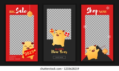 Modern flat New Year big sales app screen or template, web online shopping concept.NewYear chinese asian characters happy pigs sale application screens, ready to use