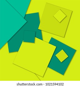 Modern flat paper cut material design sticky notes abstract background with text place