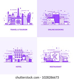Modern Flat Purple color line designed concepts icons for Travel and Tourism, Online Booking, Hotel and Restaurant. Can be used for Web Project and Applications. Vector Illustration