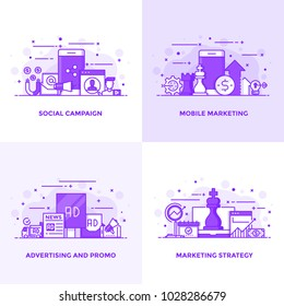 Modern Flat Purple color line designed concepts icons for Social Campaign, Mobile Marketing, Advertising and Marketing Strategy. Can be used for Web Project and Applications. Vector Illustration