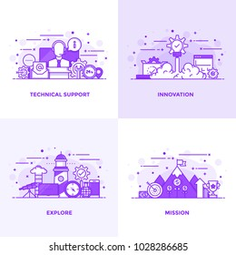 Modern Flat Purple color line designed concepts icons for Technical Support, Innovation, Explore and Mission. Can be used for Web Project and Applications. Vector Illustration