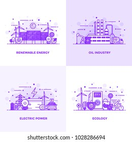Modern Flat Purple color line designed concepts icons for Renewable Energy, Oil Industry, Eletric Power and Ecology. Can be used for Web Project and Applications. Vector Illustration