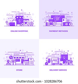 Modern Flat Purple color line designed concepts icons for Online Shopping, Payment Methods, Store and Delivery Service. Can be used for Web Project and Applications. Vector Illustration