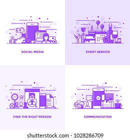 Modern Flat Purple color line designed concepts icons for Social Media, Event Service, Find the right Person and Communication. Can be used for Web Project and Applications. Vector Illustration