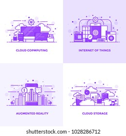 Modern Flat Purple color line designed concepts icons for Cloud Computing, Internet of Things, Augmented Reality and Cloud Storage. Can be used for Web Project and Applications. Vector Illustration