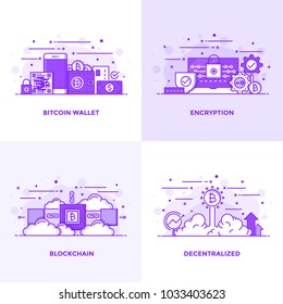 Modern Flat Purple color line designed concepts icons for Bitcoin Wallet, Encryption, Blockchain and Decentralized. Can be used for Web Project and Applications. Vector Illustration
