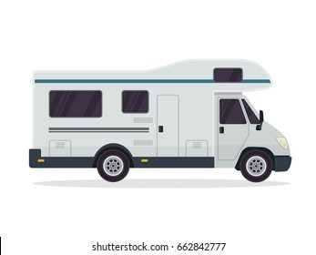 Modern Flat RV Motorhome Vehicle Logo Illustration