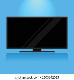 Modern flat screen black television on blue background
