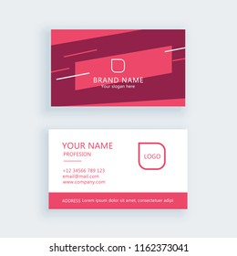 Modern flat simple red pink business card template or visiting card