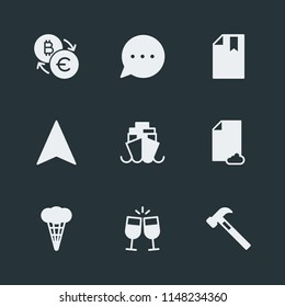 Modern Flat Simple Vector icon set. Contains Icons  information,  currency,  cream,  book,  banking,  ocean,  building, data,  file,  bookmark,  finance,  bitcoin,  food, message,  phone, hammer