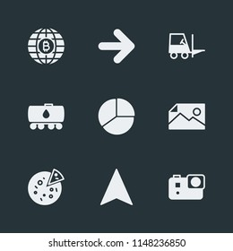 Modern Flat Simple Vector icon set. Contains Icons internet,  bitcoin, business,  pointer, video,  arrow,  presentation,  global,  forklift,  tomato,  world,  food,  freight,  italian,  pie,  camera