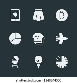 Modern Flat Simple Vector icon set. Contains Icons  plane,  internet,  circle, skirt,  meat, bitcoin,  bbq,  diet,  style,  ball, barbecue,  food,  presentation,  aircraft, golf,  grilling,  business