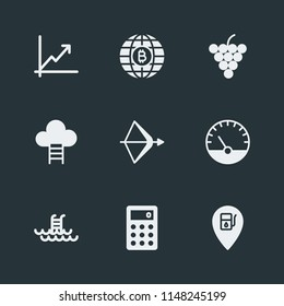 Modern Flat Simple Vector icon set. Contains Icons  bitcoin,  fresh,  diagram,  increase, measurement,  graphic,  sky,  equipment,  swimming,  summer, petrol,  exchange, climb,  grape,  high, food