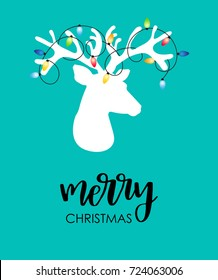 Modern flat style Christmas card with reindeer