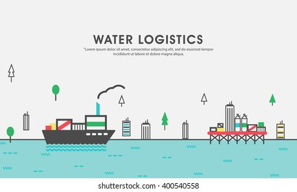 Modern flat style illustration of of cargo freight shipping by water, sea transport delivery, export logistics control. Can be used as web banner, hero image and website slider.