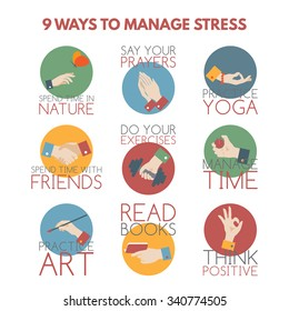 Modern flat style infographic on stress management. Elements designed as hand gestures. Features contact with nature, prayer, yoga, friends, sport, time management, art, reading, positive thinking.