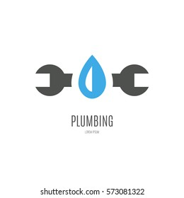 Modern flat style logo for plumber or handyman. Plumbing company. House repair. Isolated and easy to use company symbol.
