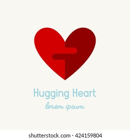 Modern flat style organ donation logo. Hugging heart sign for blood donation campaign. Volunteer and support organization icon.