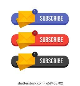 Modern flat subscribe buttons set vector illustration.