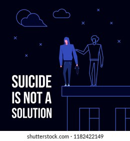 Modern flat suicide mental illness disorder prevention prophylaxis concept.Flat style characters on roof edge danger situation,text Suicide is not a Solution on black background