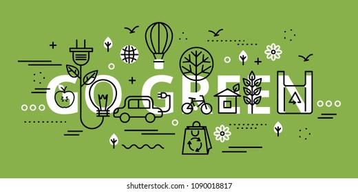 Modern flat thin line design vector illustration, go green infographic concept on greenery background, for graphic and web design