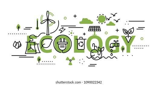 Modern flat thin line design vector illustration, infographic concept of ecology problem, generation and saving green energy in greenery color, for graphic and web design