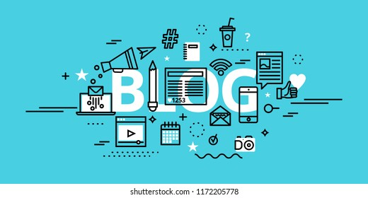 Modern flat thin line design vector illustration, concept of blog, online news and blogging, for graphic and web design