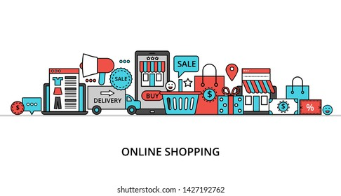 Modern flat thin line design vector illustration, concept of online shopping, internet sales with retail and commerce elements for graphic and web design