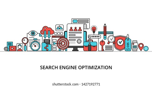 Modern flat thin line design vector illustration, concept of search engine optimization, for graphic and web design