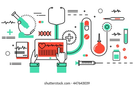 Modern flat thin line design vector illustration, concept of medicine and healthcare, health control and medical equipment objects for graphic and web design