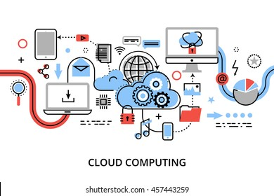 Modern flat thin line design vector illustration, concept of cloud computing technologies, protect computer networks and remote data storage, for graphic and web design