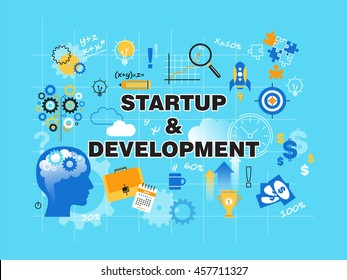 Modern flat thin line design vector illustration, concept of startup project, business strategy and innovation development, for graphic and web design