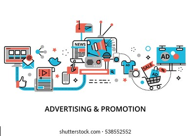 Modern flat thin line design vector illustration, concept of advertising, marketing and promotion process, for graphic and web design