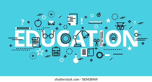 Modern flat thin line design vector illustration, education concept, for graphic and web design