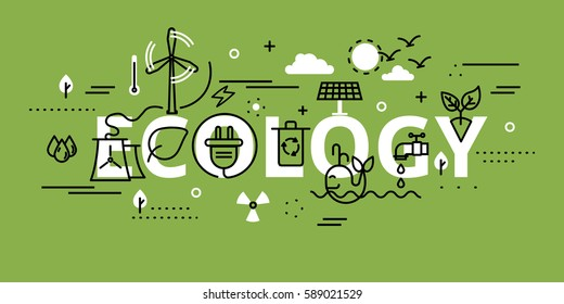 Modern flat thin line design vector illustration, infographic concept of ecology problem, generation and saving green energy in greenery color, for graphic and web design.