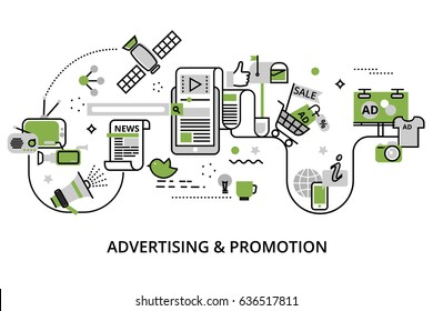 Modern flat thin line design vector illustration, concept of advertising, marketing and promotion process, in greenery color  for graphic and web design