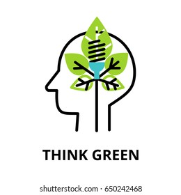 Modern flat thin line design icon, vector illustration, infographic concept of green thinking and saving our planet for graphic and web design