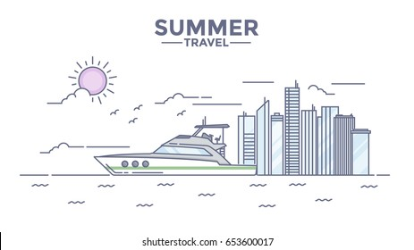 Modern flat thin line design Hero image, concept of travelling, journey, sailing to other countries, easy to use and highly customizable. Modern vector illustration concept
