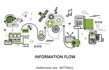 Modern flat thin line design vector illustration, concept of information flow, for graphic and web design