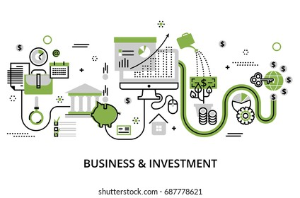 Modern flat thin line design vector illustration, infographic concept of business and investment, for graphic and web design