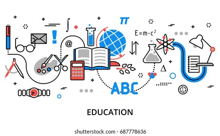 Modern flat thin line design vector illustration, concept of education process, learning in educational institution and items of study equipment, for graphic and web design