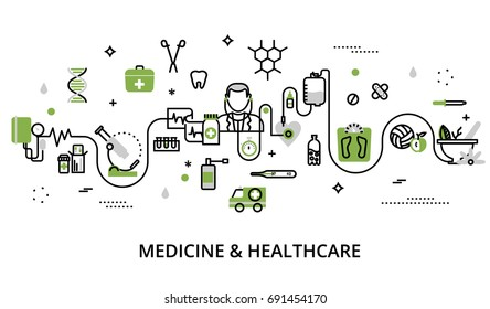 Modern flat thin line design vector illustration, greenery concept of medicine and healthcare, first aid, medical equipment and medicament cure, for graphic and web design