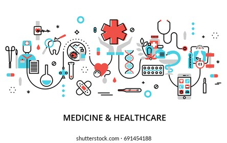 Modern flat thin line design vector illustration, concept of medicine and healthcare, first aid, medical equipment and medicament cure, for graphic and web design