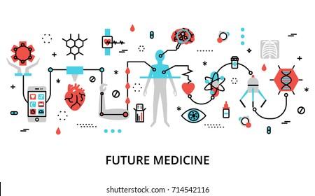 Modern flat thin line design vector illustration, concept of future medicine, for graphic and web design