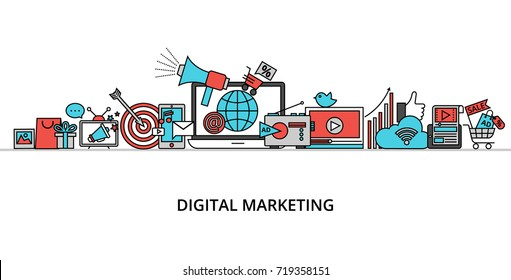 Modern flat thin line design vector illustration, concept of digital marketing, internet marketing idea and new market trends analysis for graphic and web design