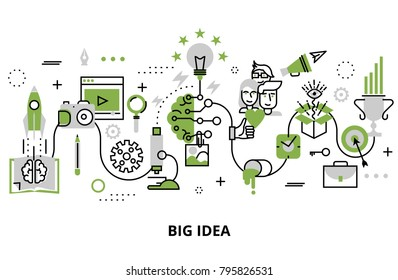 Modern flat thin line design vector illustration, concept of creative big idea in greenery color, for graphic and web design