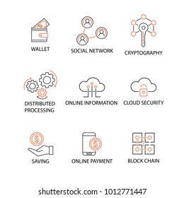 Modern Flat thin line Icon Set in Concept of Online Information with word Wallet,Social Network,Cryptography,Distributed Processing,Cloud Security,Saving,Online Payment,Block Chain. Editable Stroke.