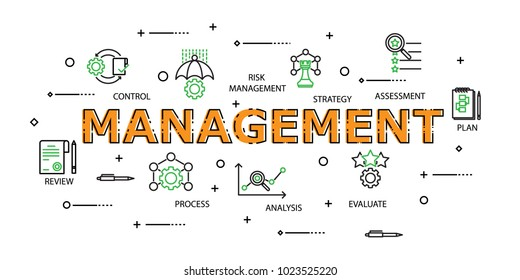 Modern Flat thin line Icon Set in Concept of Management with word Strategy,Risk Management, Assessment, Plan, Control, Review, Evaluate, Analysis, Process. Editable Stroke.