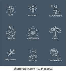 Modern Flat thin line Icon Set in Concept of Business Core Values with word Transprency,Responsibility,Creativity.Growth,Core Values,Ethics,Passion,Innovation,Goal.Editable Stroke.